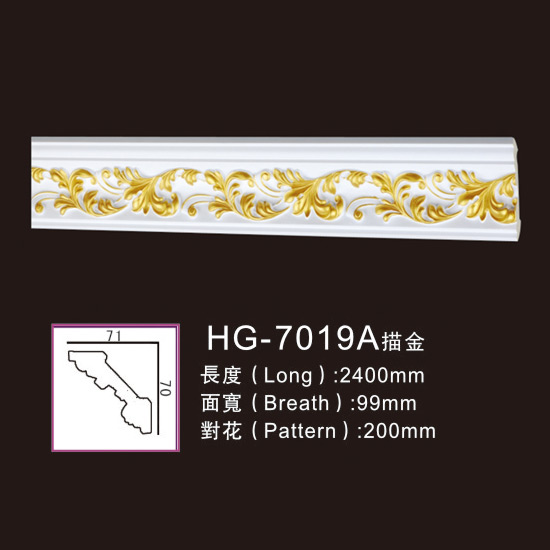 Best Price on Interior Polyurethane Moulding - Effect Of Line Plate-HG-7019A outline in gold – HUAGE DECORATIVE