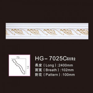 Big Discount Ceiling Polyurethane Carved Mouldings - Effect Of Line Plate-HG-7025C outline in rose gold – HUAGE DECORATIVE
