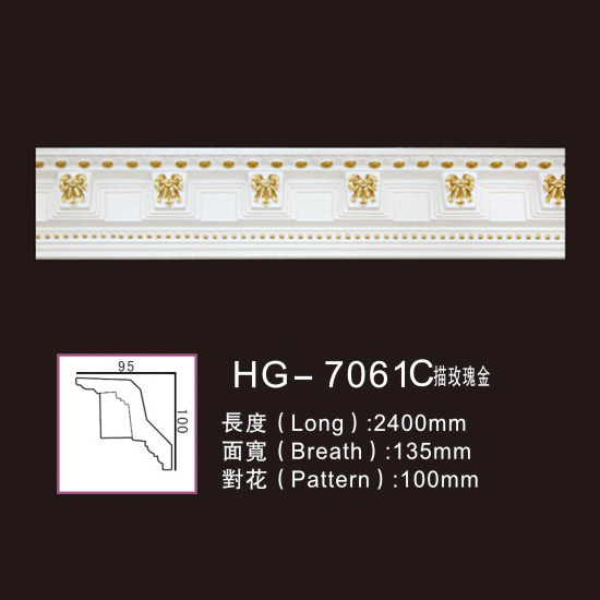 Factory Free sample Ceiling Polyurethane Carved Mouldings - Effect Of Line Plate-HG-7061C outline in rose gold – HUAGE DECORATIVE