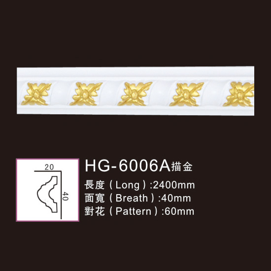 Chinese wholesale Pu Crown Cornices Moulding - Effect Of Line Plate-HG-6006A outline in gold – HUAGE DECORATIVE